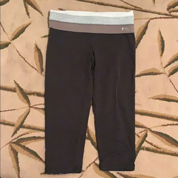 PINK Victoria's Secret Pants - PINK Yoga Crop Pant with Gray Ombré Foldover Band